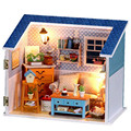 "Miniature Wood Doll House with Tiny Furniture 3D Dollhouse Kit Assembly Toys for Kids,""Warm Word"" Miniaturas Dolls Houses"