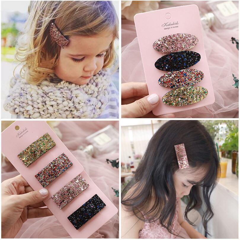 8PCS/lot Brand New Glittery Kids Girls Snap Hair Clip Toddlers Hair Clip Barretter Children Girls Hair Accessories Headdress