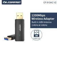 Comfast CF-913ACV2 2.4g/5.8 ghz banda dupla usb3.0 1200 mbps pc sem fio/wifi ac adaptador gigabit adaptador adaptador adaptador adaptador wi fi receptor/emissor