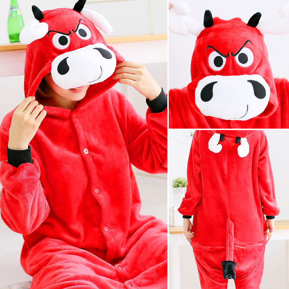 hot sale mens womens Cartoon image Jumpsuits sleepwear Flannel cosplay One-piece animal pajamas winter thick Rompers pajamas