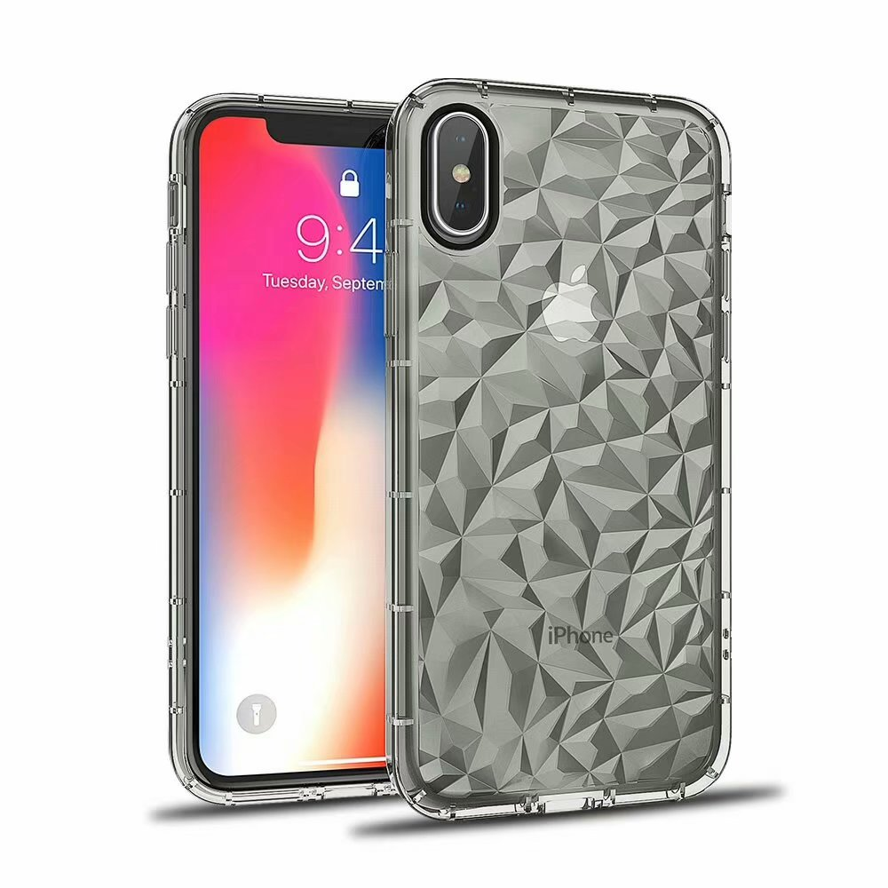 Luxury 3D Diamond Pattern TPU Case For iPhone X 8 8 Plus 7 7 Plus 6 6s 6 Plus Case Back Cover Free Bracket Hol Fundas Coque