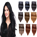 "Clip In Hair Extensions 70g to 220g Human Hair Extensions Clip In Dark Brown 2# 7 8 10 Pcs Clip On Hair Extensions 16""-26"""