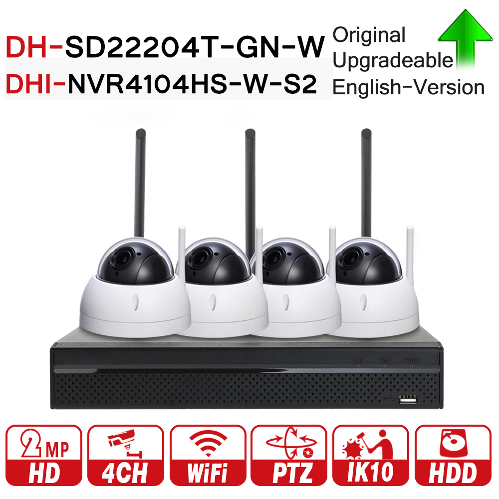 Dahua 4CH 2MP 1080P PTZ CCTV System SD22204T-GN-W NVR4104HS-W-S2 4X Optical Zoom High speed Wireless Network IP Camera Kits WDR original dahua 1080p mini ptz ip camera dh sd22204t gn 4x zoom hd network speed dome camera onvif sd22204t gn with power supply