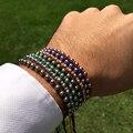 Anil Arjandas Men Bracelet 2016 Silver Plated 5mm Round Beads Braided Weaving Bracelet Bangle For Men Women