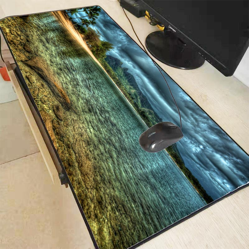 Mairuige Ocean Beach Large Gaming Mouse Pad Lock Edge Mouse Mat Keyboard Table Mat Desk Mat For Notebook Laptop Gamer Mousepad