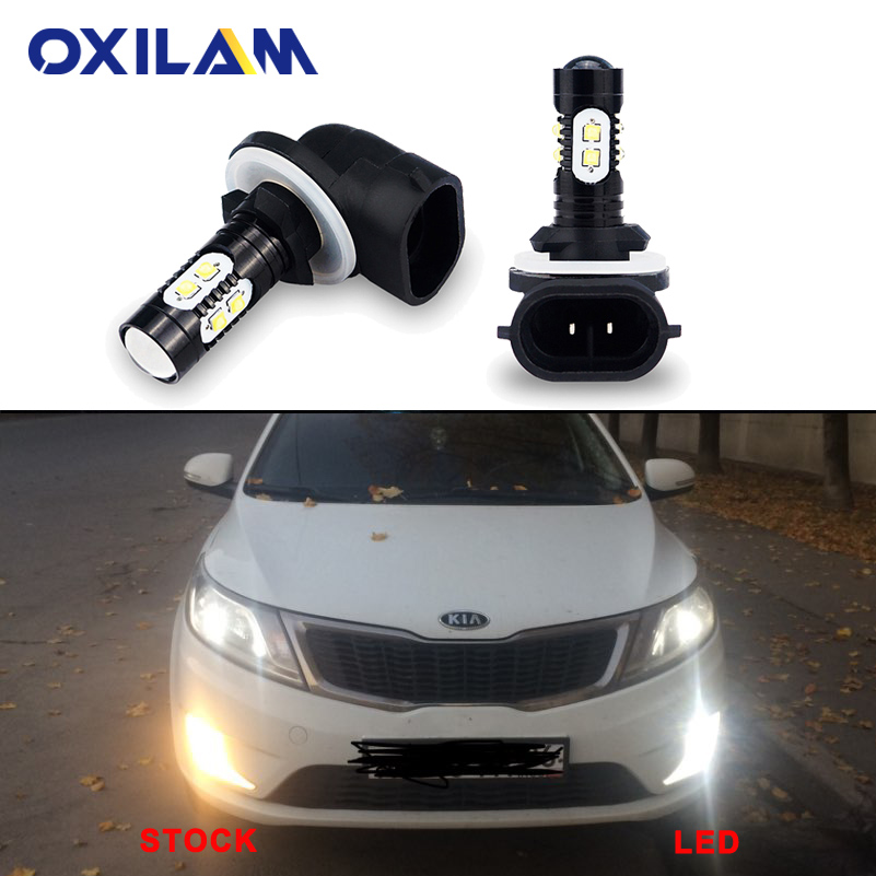 2Pcs H27 881 LED Bulb Fog Lights For Kia Sportage Rio 3 Soul Ceed Optima Sorento Cerato Auto Driving Lamp DRL H8 H11 9006 HB4