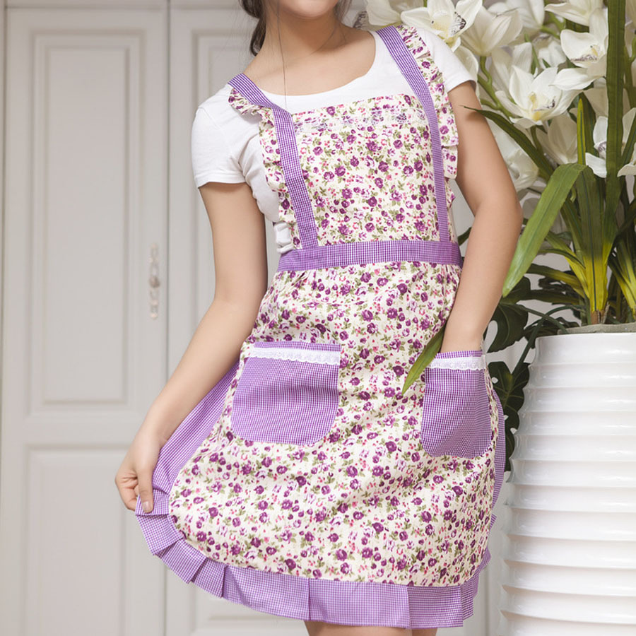 Free Shipping Women Chefs Kitchen Cooking Apron Simple Flower Pattern Design Pinafore Great Gift China