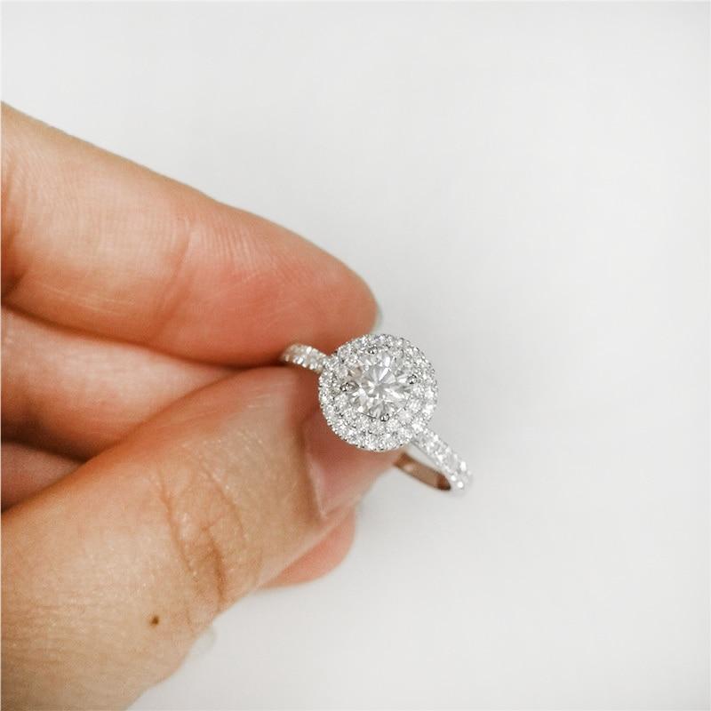 Bague en or blanc 18 k avec pierre moissanite de forme ronde de 5mm pour femmes bijoux de fête