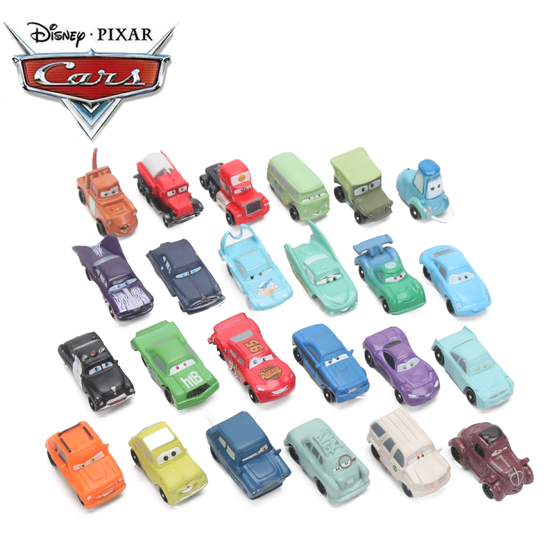 4-6cm 24pcs/lot Disney Pixar Cars 3 Lightning McQueen Mater Jackson Storm Ramirez 1:55 Diecast ABS Car Model Toy Gift For Boys