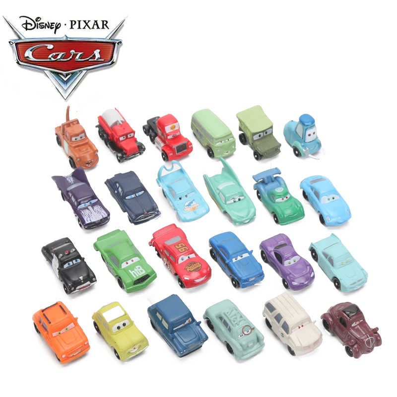 4-6cm 24pcs/lot Disney Pixar Cars 3 Lightning McQueen Mater Jackson Storm Ramirez 1:55 Diecast ABS Car Model Toy Gift for Boys