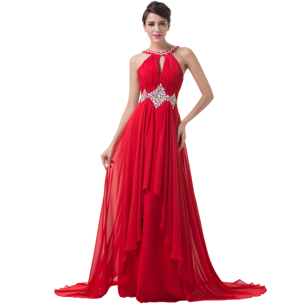 f808bdccf6a Grace Karin Long Red Evening Dresses 2018 Backless Beaded Chiffon Floor  Length Elegant Formal Gowns Prom Sexy Party Dresses-in Evening Dresses from  Weddings ...