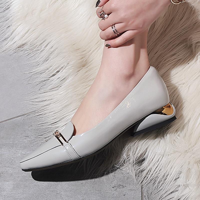 Designer Verni De Faible Chaussures Marque Taille gray Decorathion La Appartements Cuir Pointu Black En Talon Loisirs Plus Bout Confortable Femmes Chian 2YWEI9DH