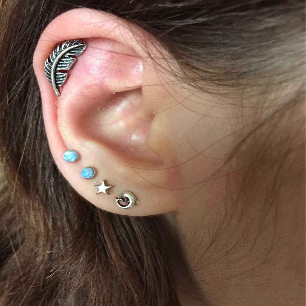 319998b21 ... Showlove-2pcs Feather Ear Cartilage Piercing Tragus Helix Studs  Piercing Body Jewelry 16g Stianless Steel ...