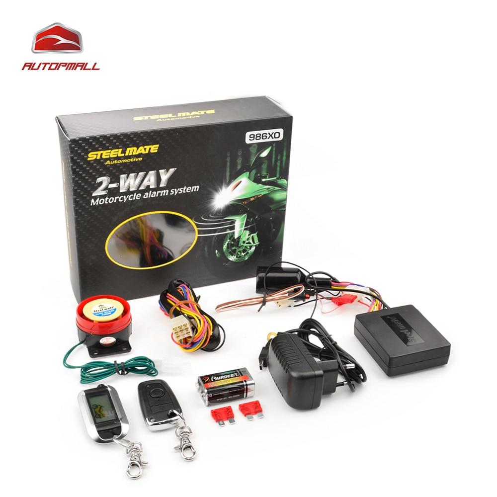 Motorcycle Alarm System Steelmate 986XO 2 Way Alarm Remote Control Water Resistant ECU Anti theft Alarm