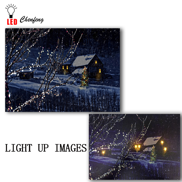 US $14 79 26% OFF|LED canvas print Cottage Scenes christmas winter night  picture oil painting on canvas wall art decor light up new year kids  gift-in