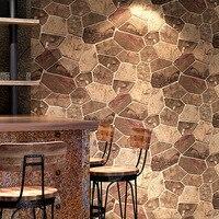 Retro 3d brick stone pattern wallpaper Coffee restaurant industrial PVC wallpaper office Background wall decoration stickers