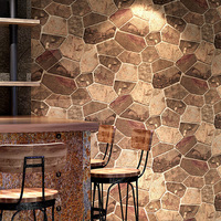 Retro 3d brick stone pattern wallpaper Coffee restaurant industrial PVC wallpaper office Background wall decoration stickers
