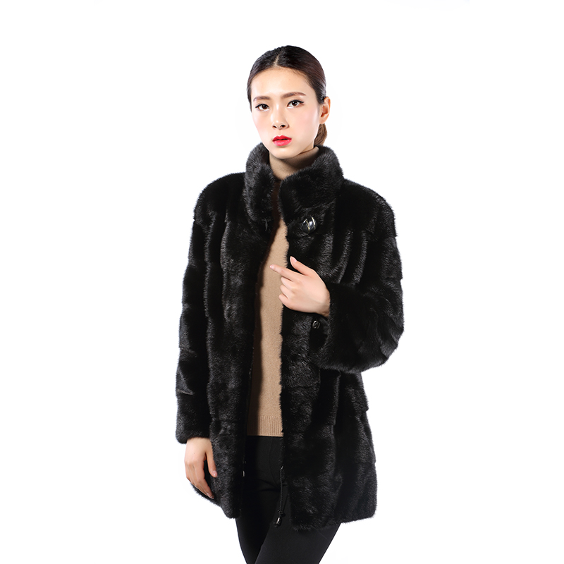 Real fur mink coat jacket women's collar black full pelt classic
