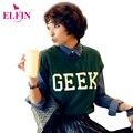 Camisetas de las mujeres del Roll-up Camisa de Manga Corta 2016 Al Azar Hem Geek Camisetas Flojas Impreso Carta Tops Ocasionales Para Las Mujeres LSP8023R