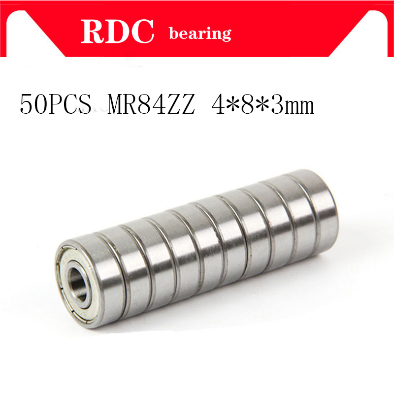 50pcs/Lot ABEC-5 MR84ZZ MR84 ZZ 4x8x3mm Thin Wall High Quality Deep Groove Ball Bearing Mini Ball Bearing Miniature Bearing