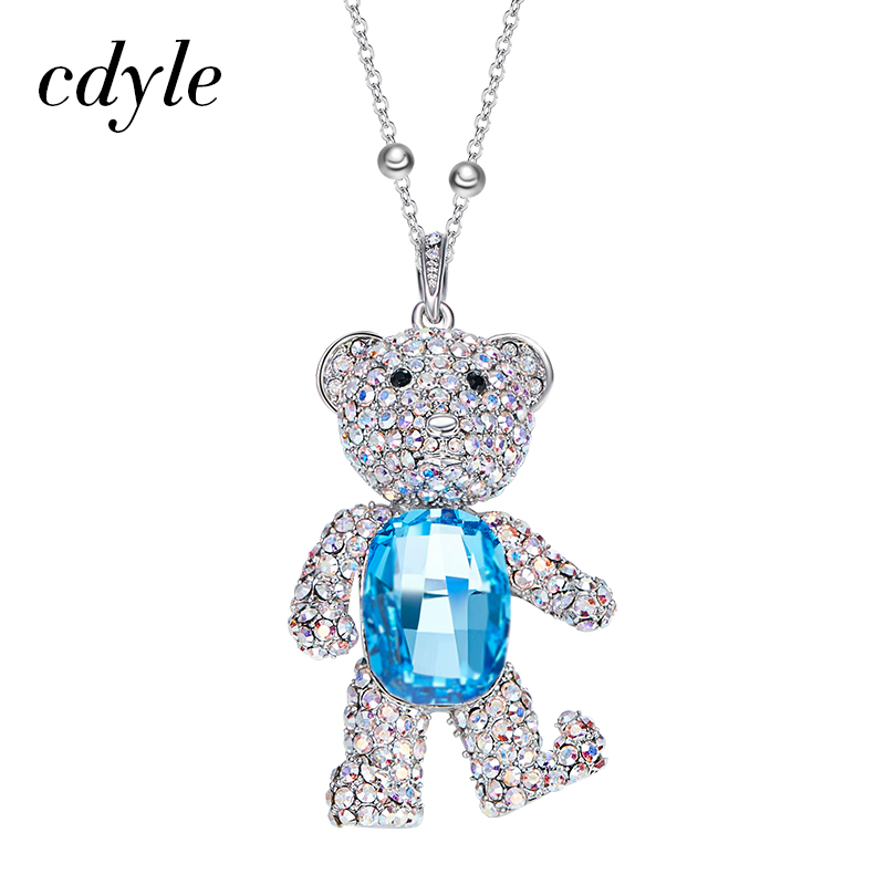 Cdyle Sweater Necklace Women Sweater Chain Crystals from Swarovski Little  Bear Shaped Cute Kawaii Austrian Rhinestone Paved Chic-in Pendants from  Jewelry ... d8b09d04be37