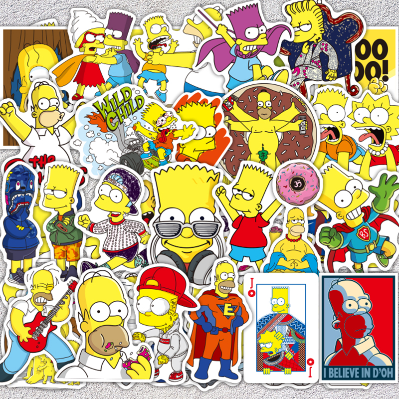 aqk-50pcs-lot-vinyl-the-simpsons-stickers-funny-anime-cartoon-sticker-for-skateboard-luggage-laptop-guitar-fridge-bike-car-decal