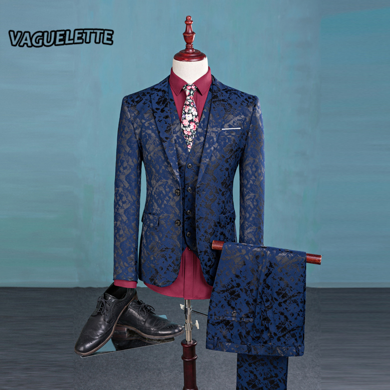 Blazer Pants Vest Fashion Men s Suit Shine Patterns Luxury Casual Men Stage Clothing Vintage