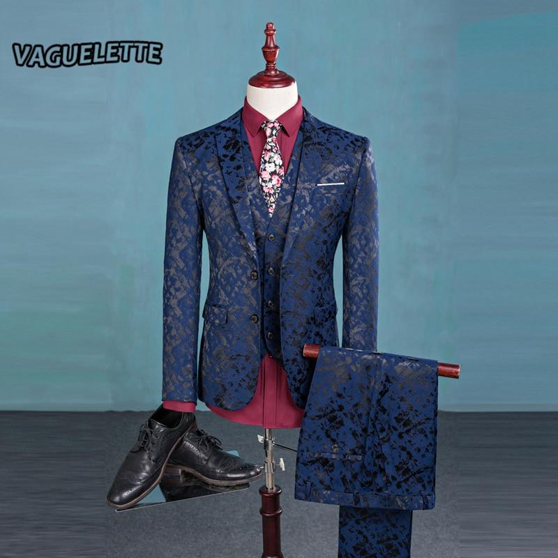 (Blazer+Pants+Vest) Fashion Men's Suit Shine Patterns Luxury Casual Men Stage Clothing Vintage Mens Suits Wedding Groom M-3XL