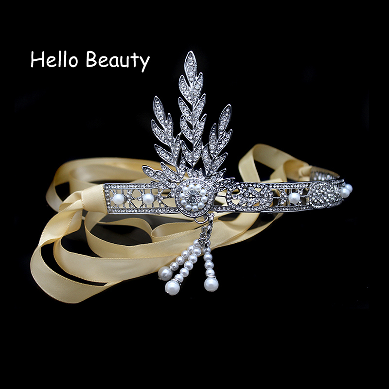 The Great Gatsby Hair Accessories Crystal Pearl Tassels Hair Headbands Head Jewelry Wedding Bridal Hairbands Tiaras and Crowns
