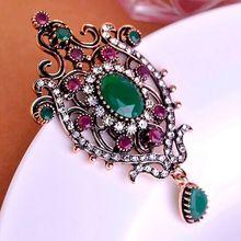 Couronne conception turque Broches Pins Colares résine Ruby rouge hijab  accessoires de femmes vintage broche Broches bijoux indiens