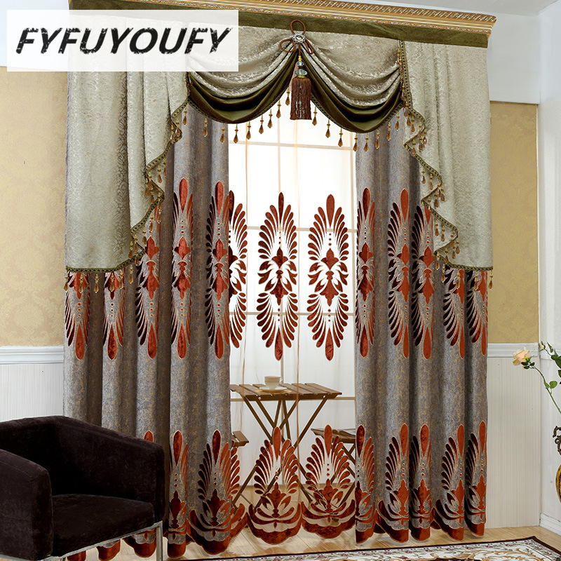 Europe Luxury Embroidered Custom Window Curtains for Living Room Kitchen Classic GrayBlackout Curtain French Treatments