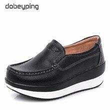 Dobeyping zapatos planos de cuero genuino, ujer plataforma zapatos de mujer mocasines mujer cuña zapatillas de deporte femenino calzado de las señoras