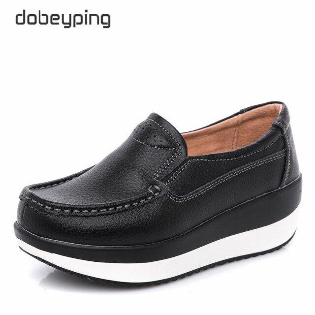 Dobeyping אמיתי עור אישה נעלי פלטפורמה שטוחה נשים נעלי מוקסינים נשים נעלי טריז נקבה סניקרס גבירותיי הנעלה
