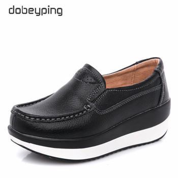dobeyping Genuine Leather Woman Shoes Flat Platform Women Shoe Moccasins Women's Loafers Wedge Female Sneakers Ladies Footwear genuine leather ladies flats sneakers shoe women casual loafers shoes female hollow moccasins white lace up canvas boat shoes