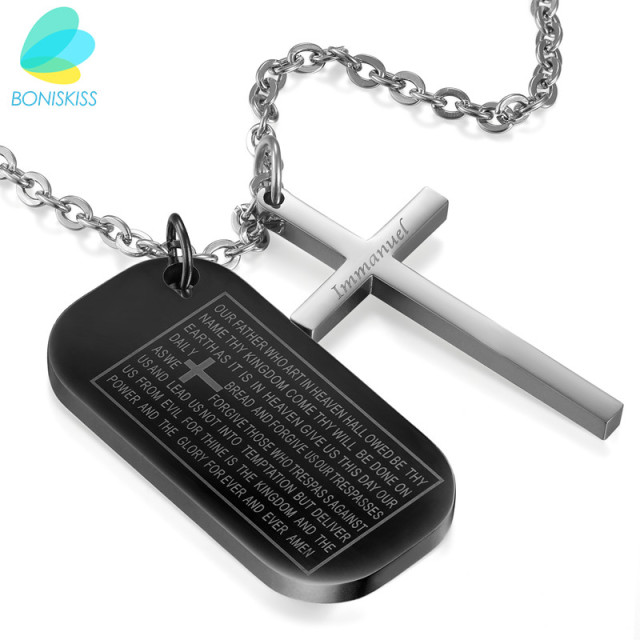 Boniskiss stainless steel cross pendant necklace for menwomen boniskiss stainless steel cross pendant necklace for menwomen bible dog tag chain religious aloadofball Images