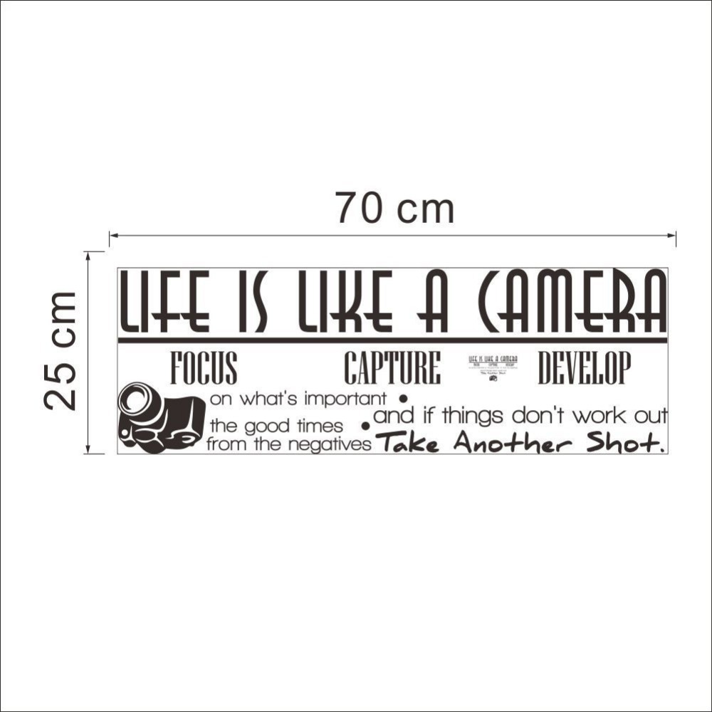 Quote Of Life Life Is A Camera Quote Wall Stickers Home Decor Photograph Vinyl