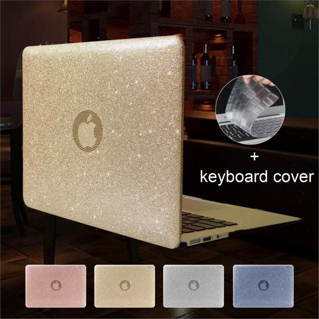 New Glitter Laptop Case For MacBook Air Pro Retina 11 12 13 15 inch with Touch Bar+Keyboard Cover A1706/1707/1708/1989/1990/1932