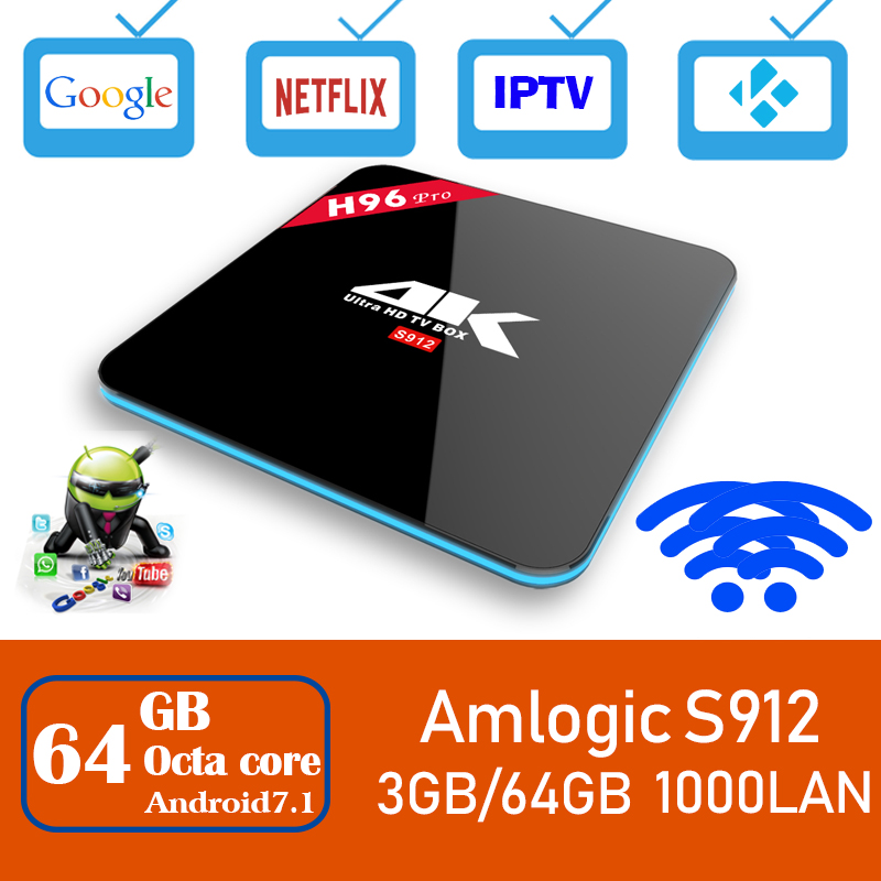 Xinways H96 Pro Plus Android 7.1 TV Box 3g/64g Amlogic S912 Octa Core 64Bit 2.4g /5g Wifi 4 k BT4.1 HD Media Player Set