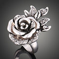 Fashion Antique Silver Plated Rings Big Austrian Crystal 3D Stereo Flower Design High Quality Engagement Wedding Rings for Women