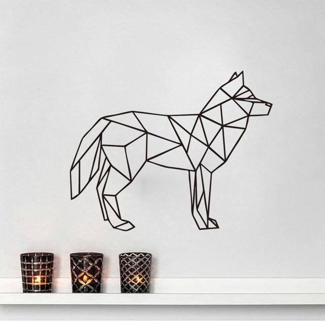 g om trique loup salon autocollant animal art sticker home