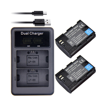SANGER 2 x LP E6 LP-E6 E6N Battery 2650mAh + LED Dual Charger for Canon EOS 5DS R 5D Mark II III 6D 7D 80D Camera
