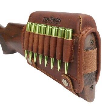 Tourbon Hunting Rifle Gun Cheek Rest Riser Pad Buttstock Left Hand Genuine Leather W/Ammo Cartridges Holder Shooting Accessories 2
