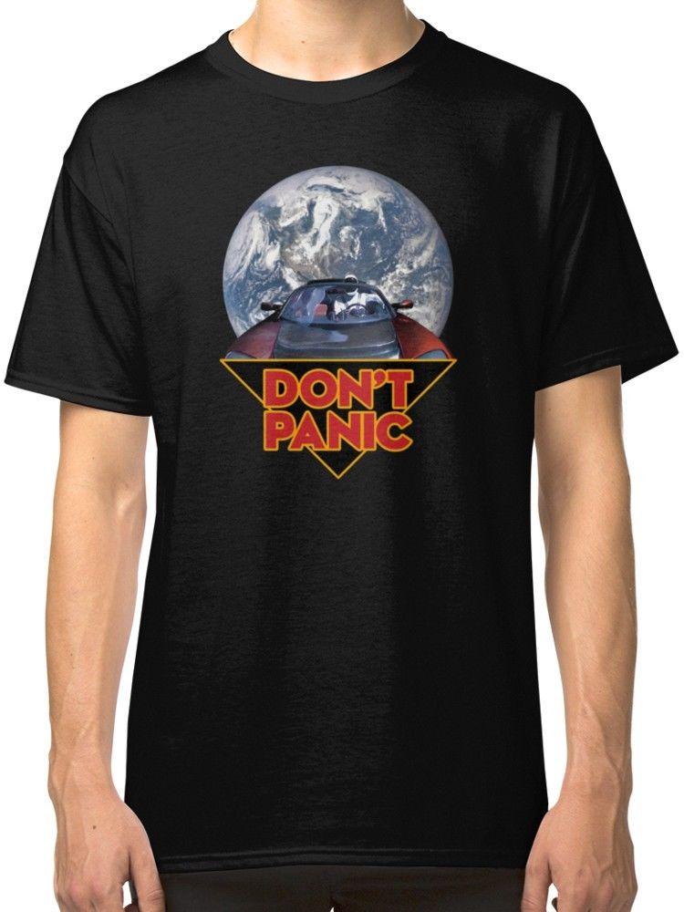 SpaceX Starman DONT PANIC Black Tees Shirt Clothing Mens Hipster Short Sleeve Tee Tops