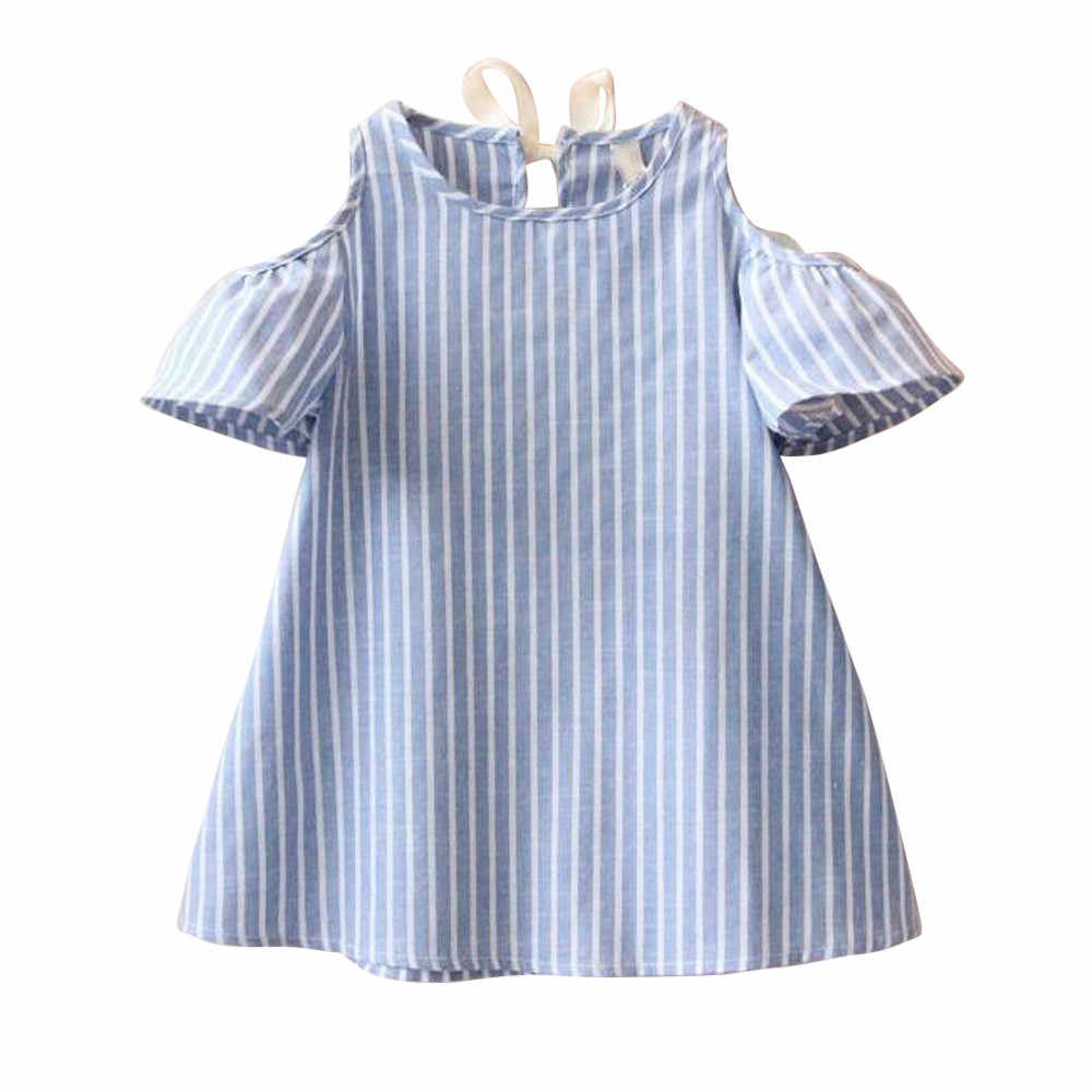 TELOTUNY Dress for girl summer Striped Dresses girls clothes kids teens Girls off-the-shoulder striped dress FG20 11 100