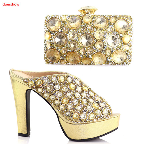 doershow Fashion Italian Shoes With Matching Bag High Quality Italy Shoe And Bag set For wedding gold color size37-42!HAA1-19 fashion italy design italian matching shoe and bag set african wedding shoe and bag sets women shoe and bag to match tmm1 41