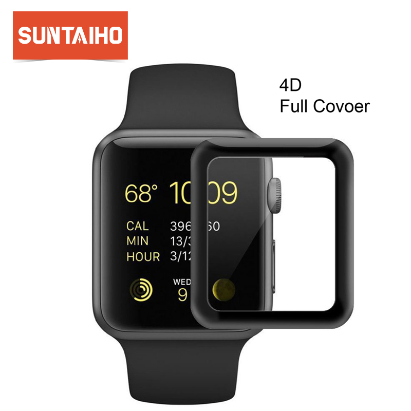 Soft Edge 4D Curved Protective Glass For Apple Iwatch 38mm 42mm 40 44 Full Cover Tempered Glass Film For IWatch Series 1/2/3/4