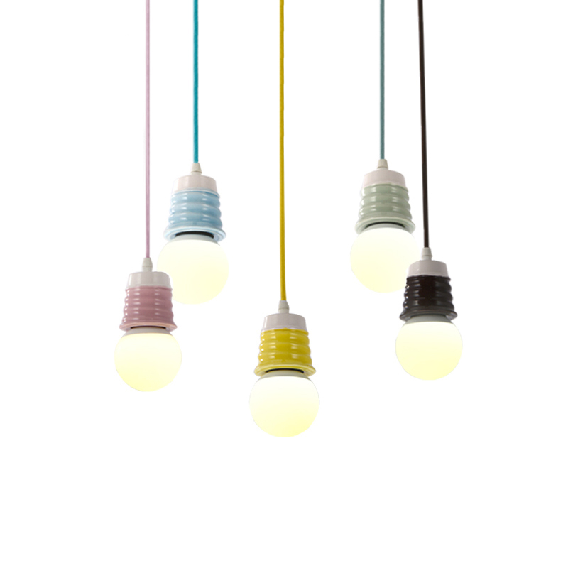 Simple Ceramics Pendant Lights E27 Hanging Lamp Holder Decorative Lighting Suspension Light Fixtures