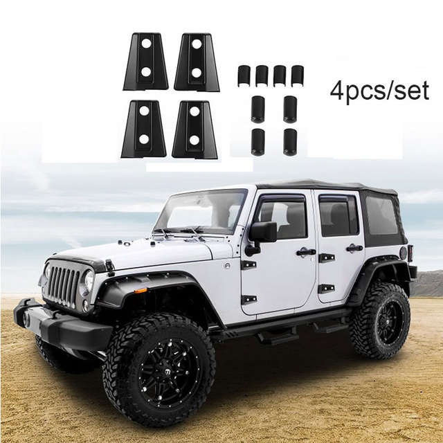 4pcs Set Black Door Hinge Cover Trim For 2007 2017 Jeep Wrangler 4