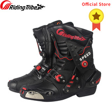 Riding Tribe Microfiber Leather Motorcycle Boots Anti-skid Anticollision Wearable Motor Bike Racing Shoes Motocross Boots A010