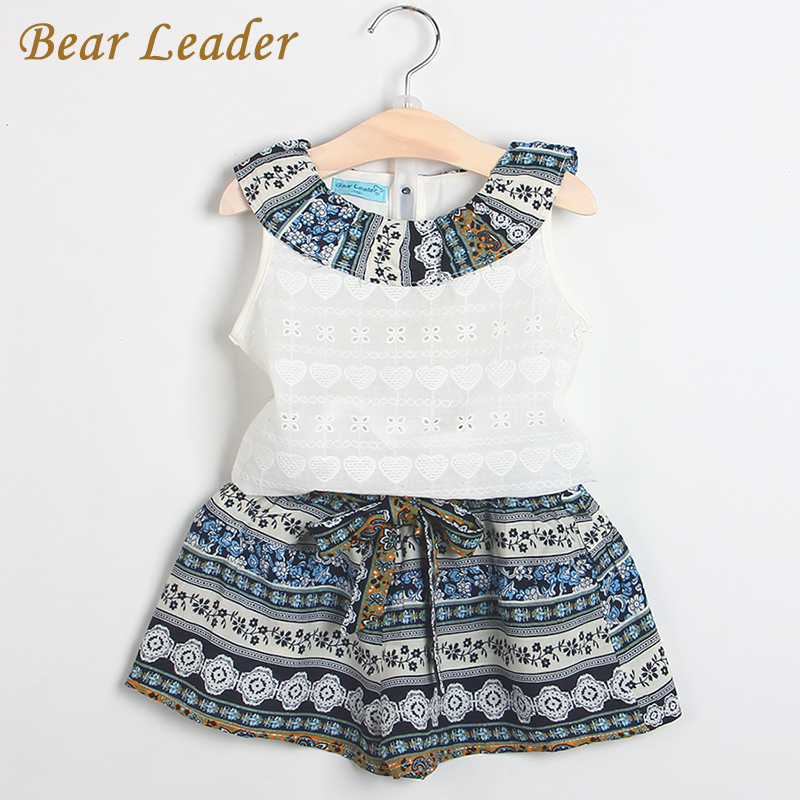 Bear Leader Girls Fashion Clothing Sets 2017 Brand Girls Clothes Kids Clothing Sets Sleeveless White T-Shirt + Short 2Pcs Suits